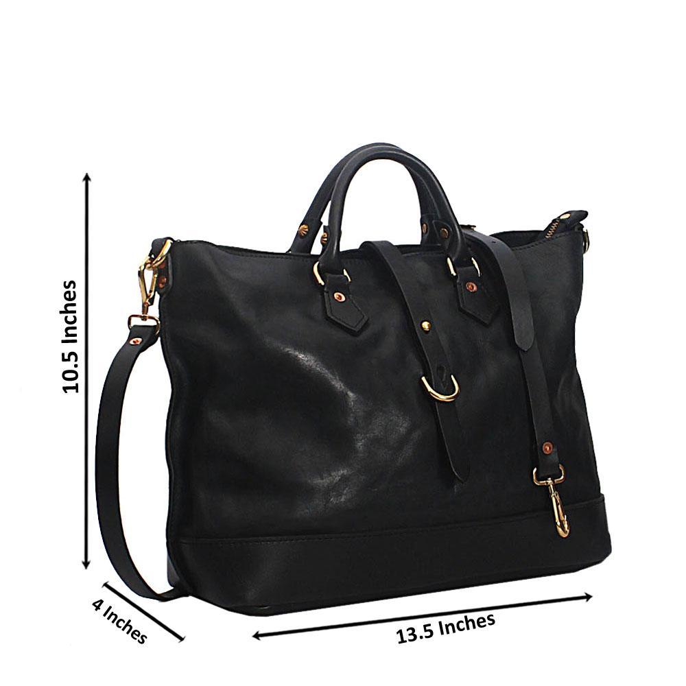 Black Verona Hand Made Spanish Leather Tote Handbag