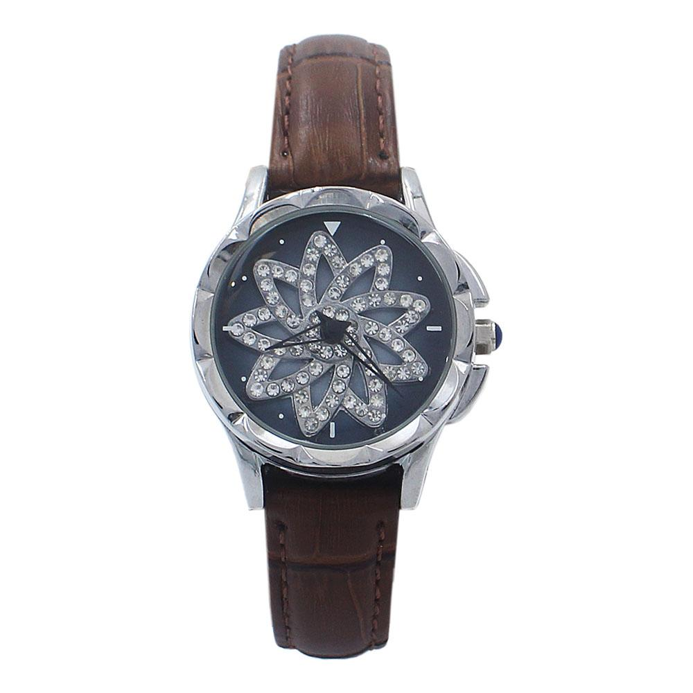 Silver Brown Crystal Studded Leather SpinnerLadies Watch