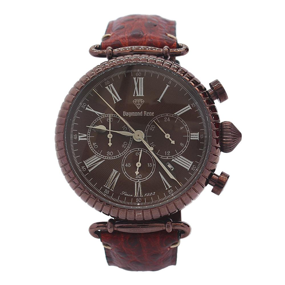 DR 5ATM Bronze Brown Leather Sailor Chronograph Watch