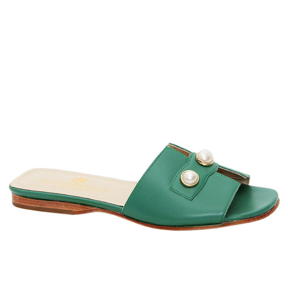 Green Lilyana Italian Leather Women Flat Slippers