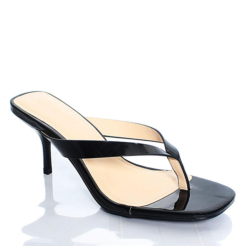Black BB Reform Patent Leather 2.5 Inch Heel Slippers