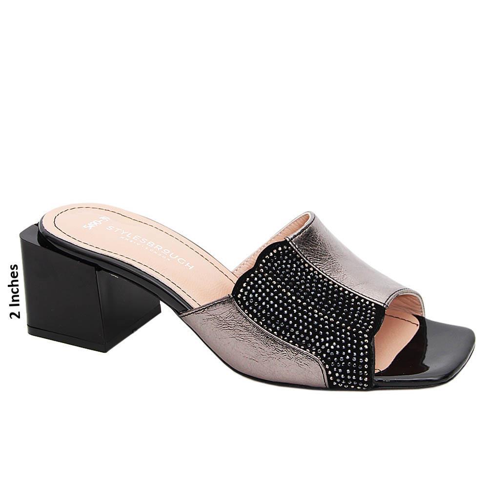 Metallic Gray Natalie Studded Tuscany Leather Mid Heel Mule