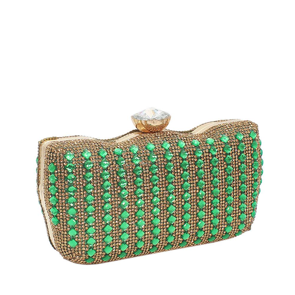Green Ellena Stone Studded Hard Clutch Purse
