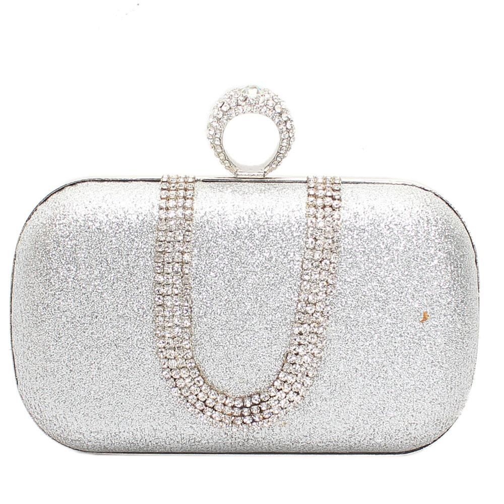 Rose Crystal Silver Shimmering Hard Clutch Purse