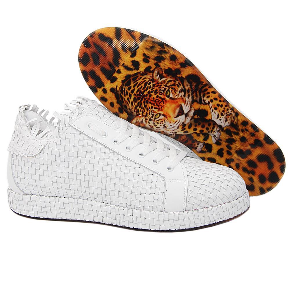 White Alessi Woven Italian Leather Unisex Sneakers