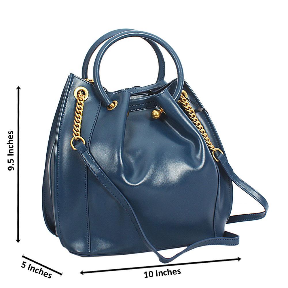Sofia Blue Smooth Cowhide Leather Tote Hand Handbag
