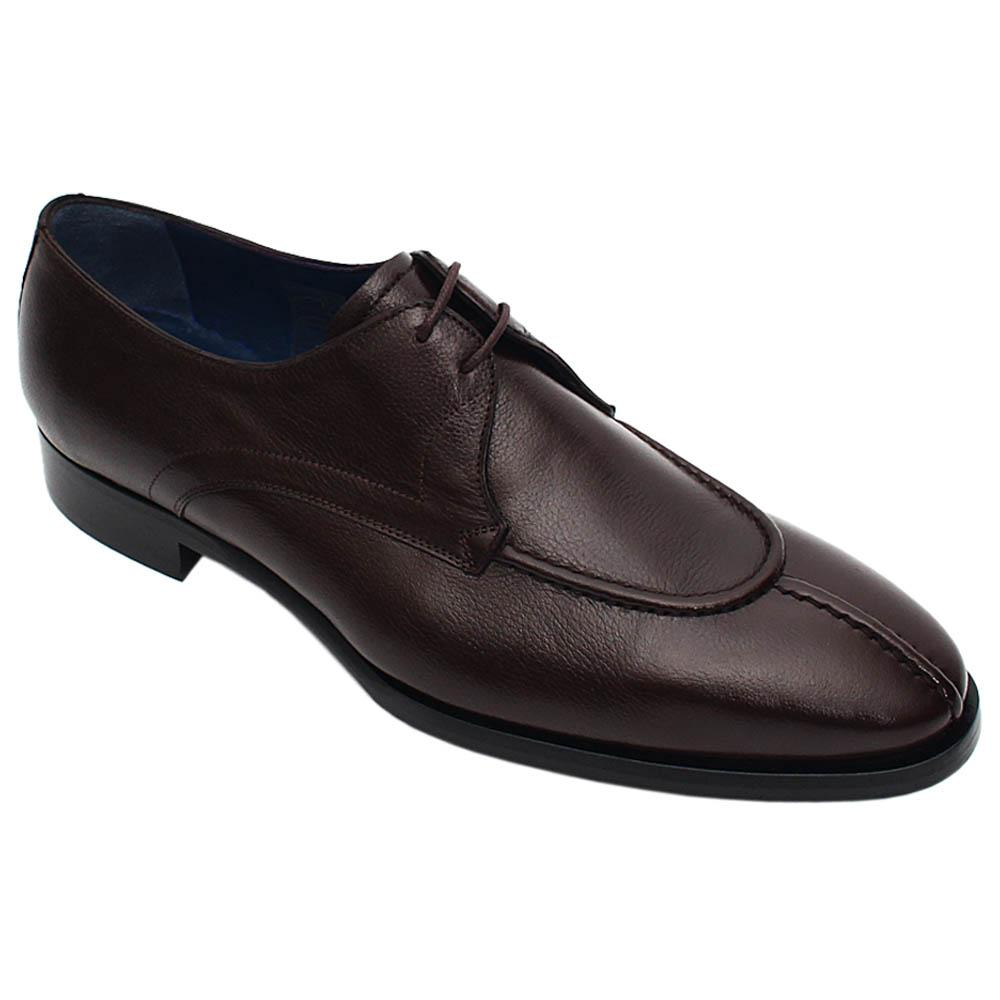 Coffee Domenico Italian Leather Men Derby Shoe