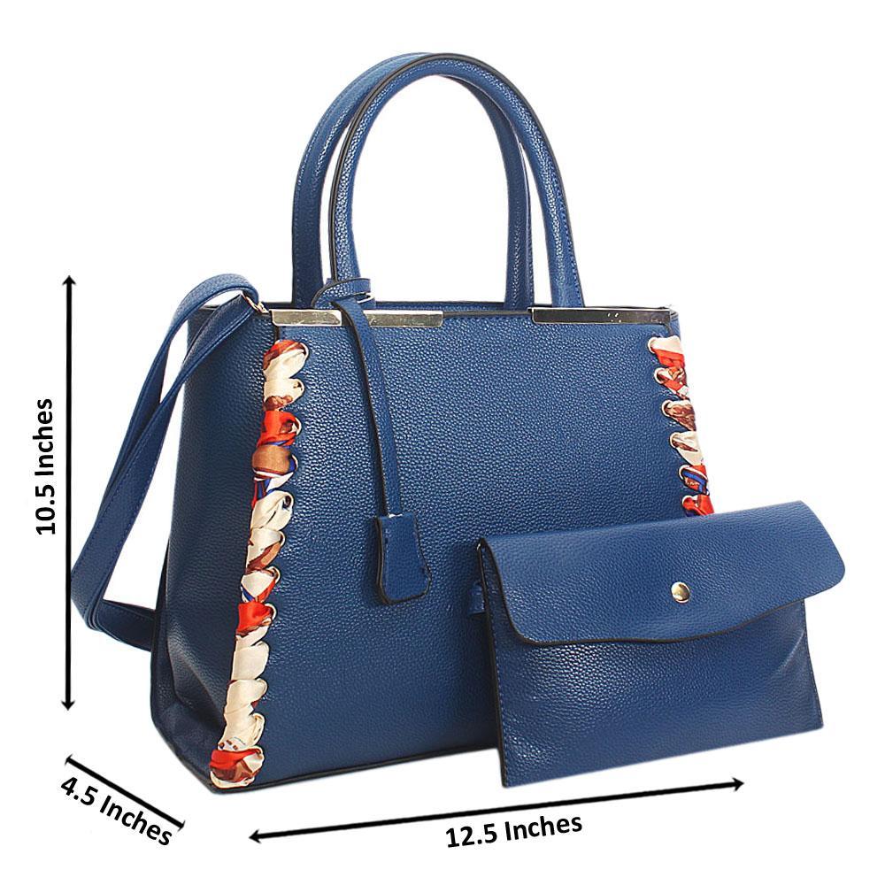 Blue Tuscany Leather Tote Handbag