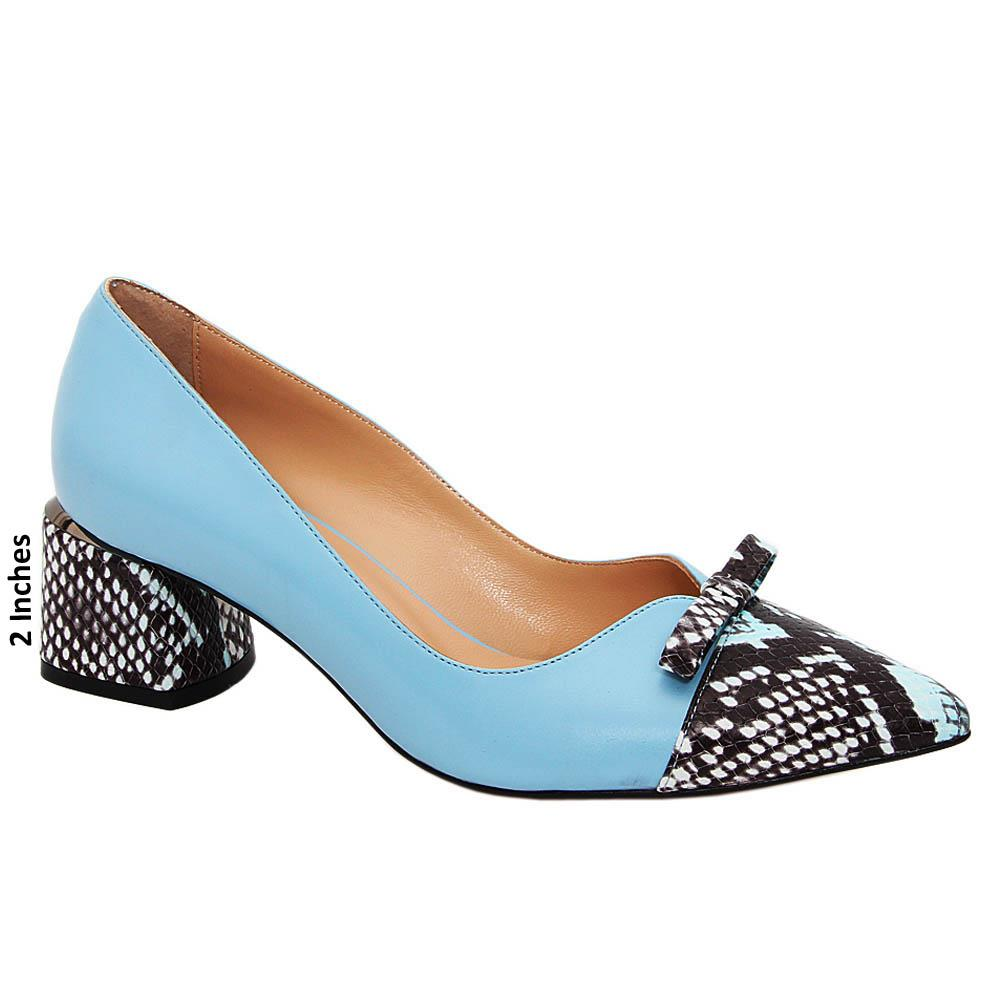 Blue Black Mix Lucia Tuscany Leather Mid Heel Pumps