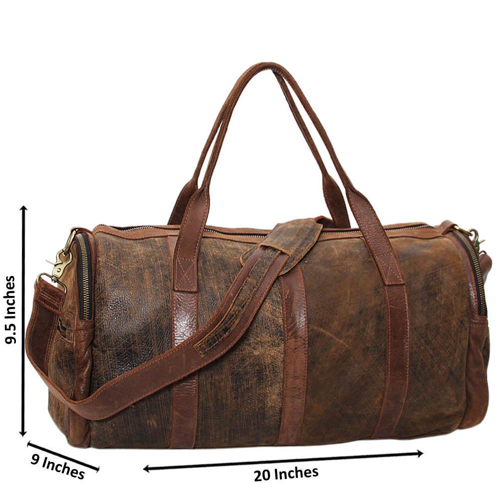 Brown Casiana Cowhide Leather Big Duffle Handbag