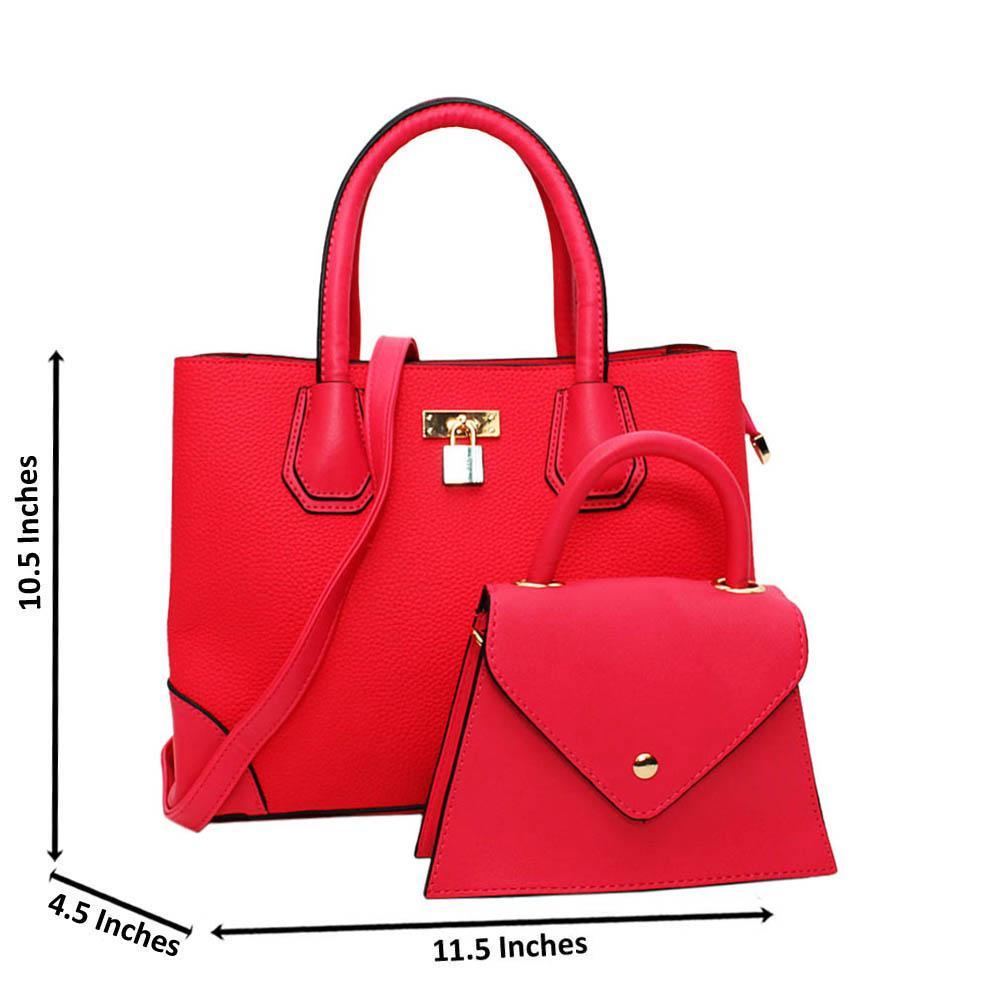 Pink Natalie Leather Medium 2 in 1 Tote Handbag
