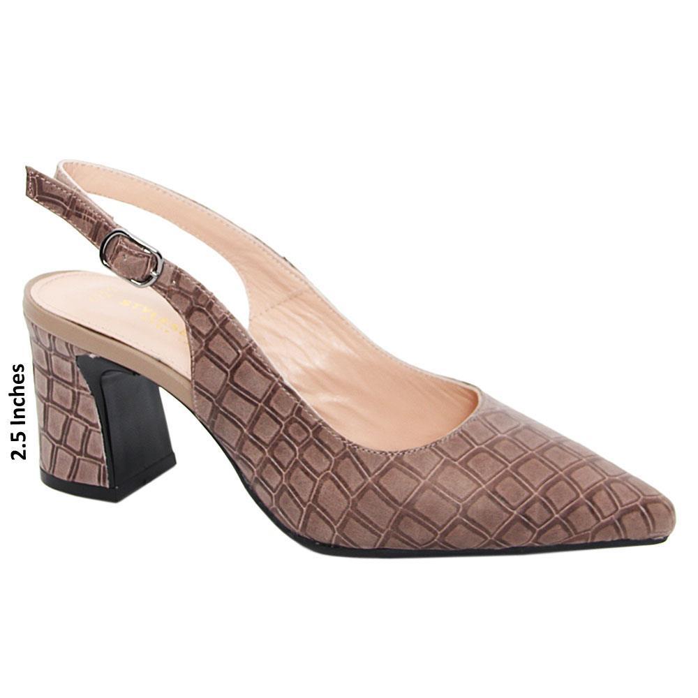 Khaki Rosina Tuscany Leather Mid Heel Slingback Pumps