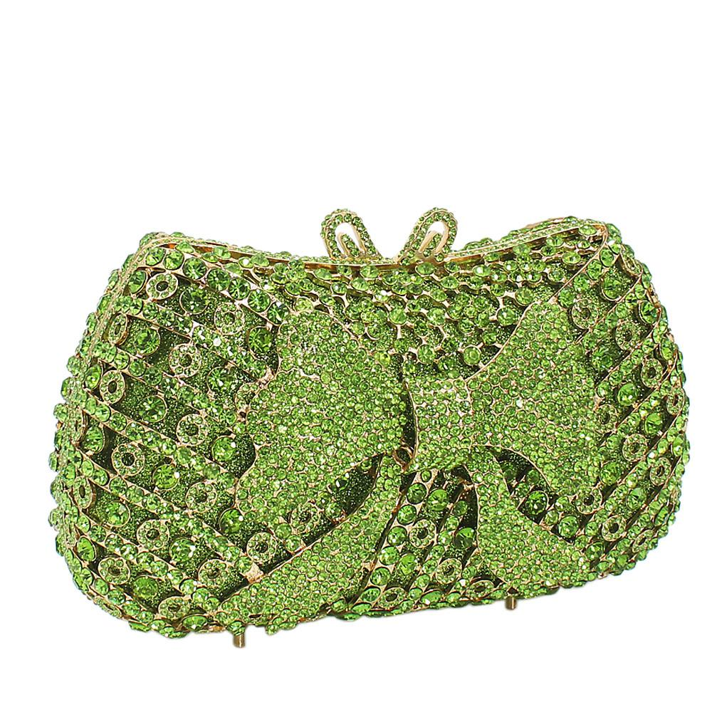 Lemon Green Bow Diamante Crystals Clutch Purse