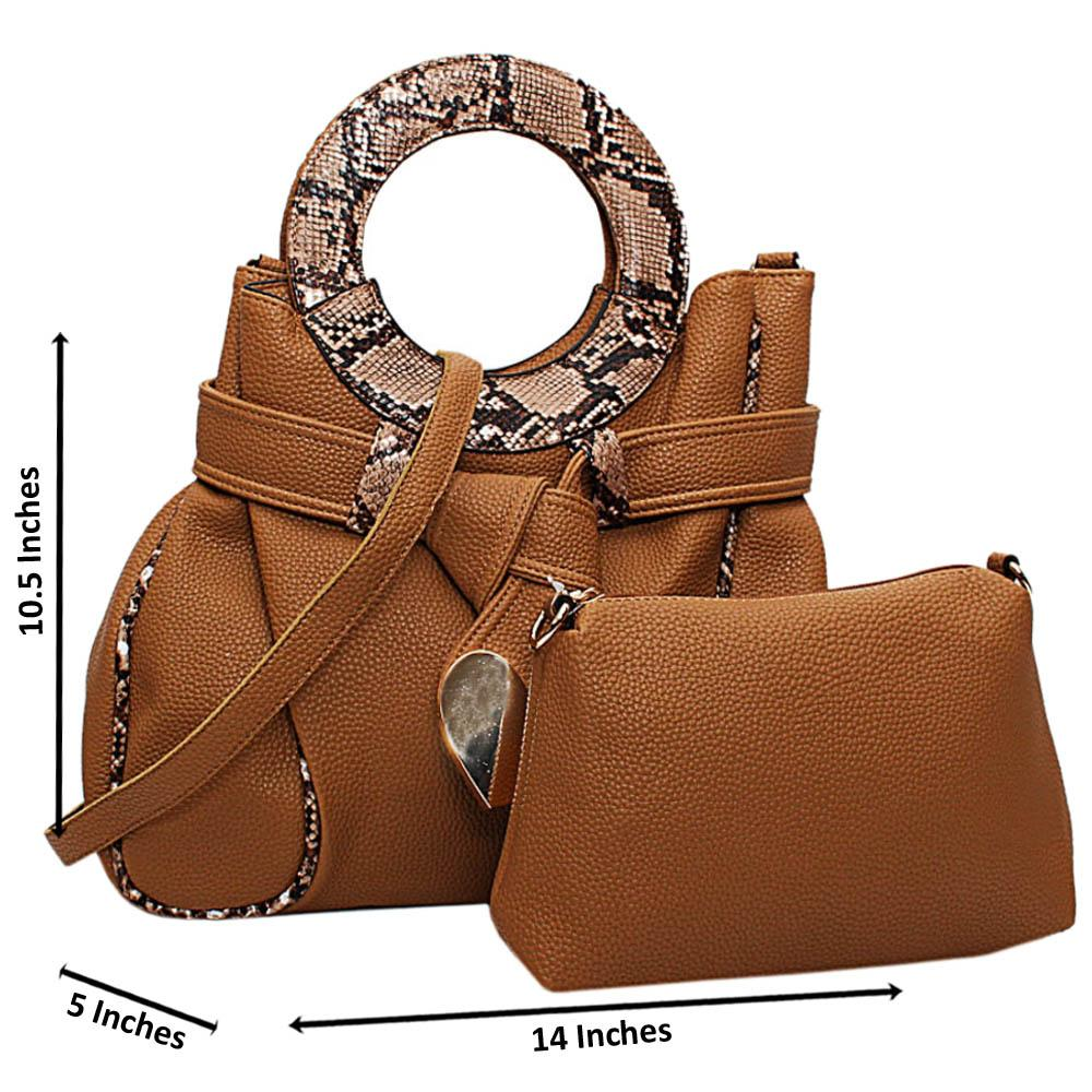 Brown Vienna Mix Snake Leather Medium Handbag Wt Purse