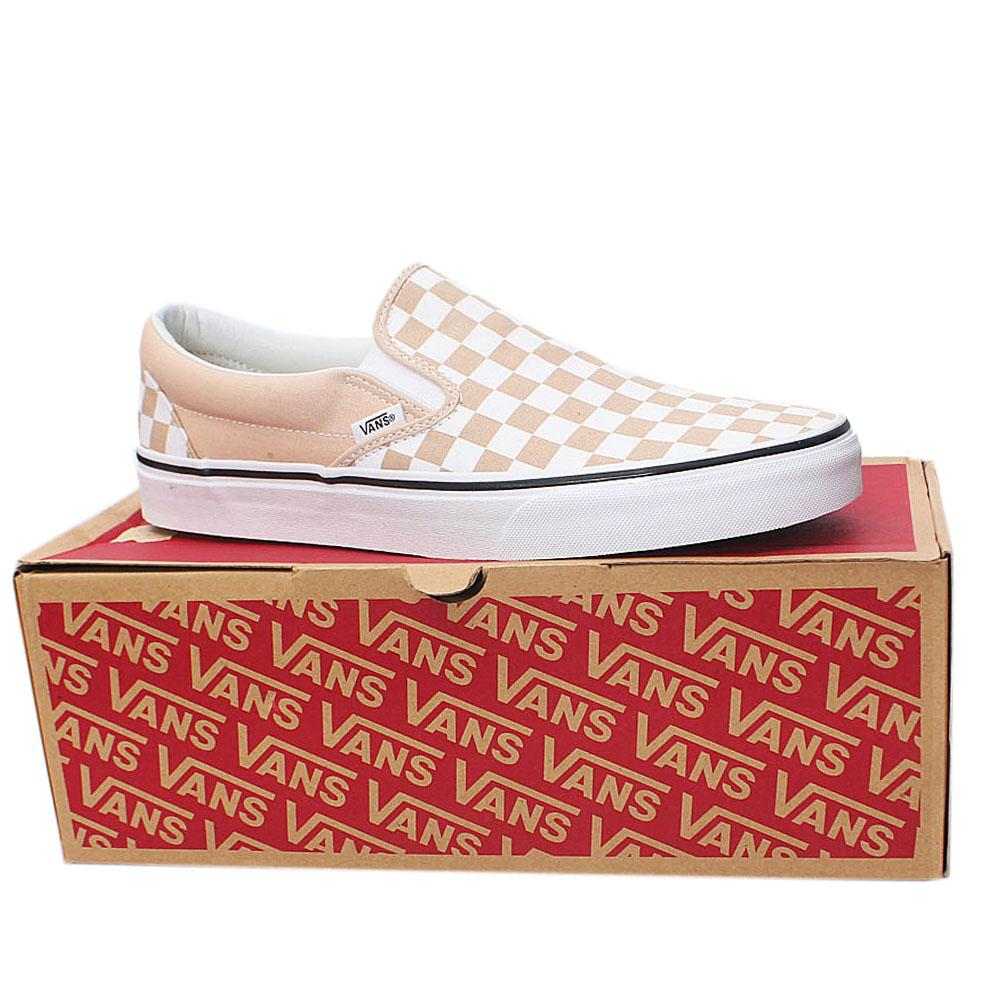 Vans Beige White Checkerboard Classic Slip on  Sz 43
