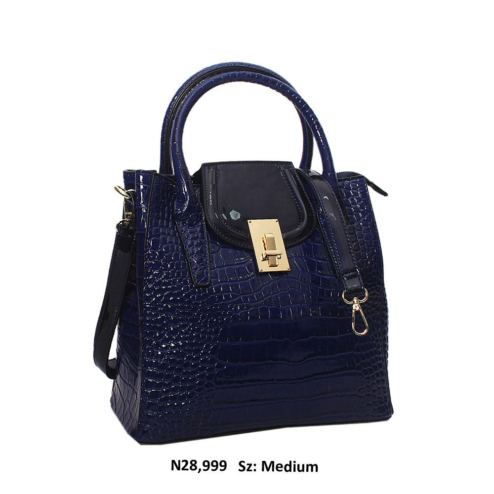 Royal Blue Simona Croc Style Patent Leather Tote Handbag