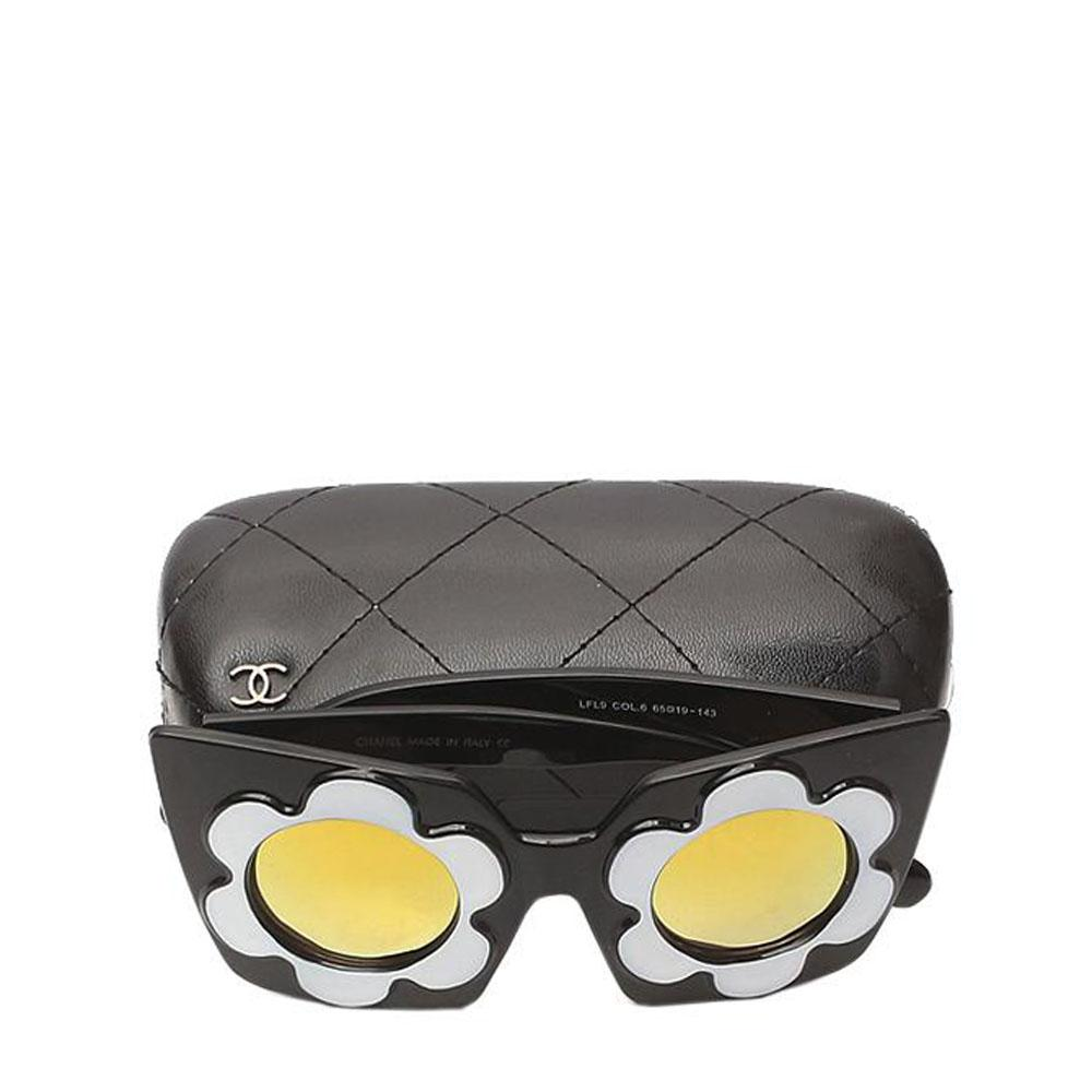 Chanel Black White Gold Reflective Sunglasses