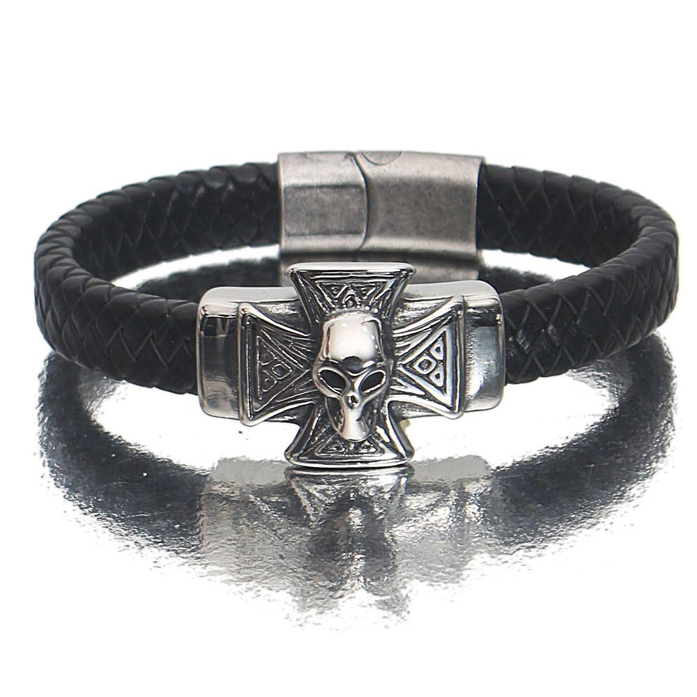 Silver Black Alien Leather Bracelet