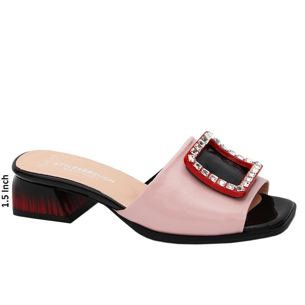 Soft Pink Madilynn Patent Tuscany Leather Low Heel Mule