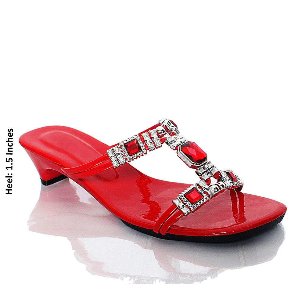 Red AG Crystal Studded Leather Mule