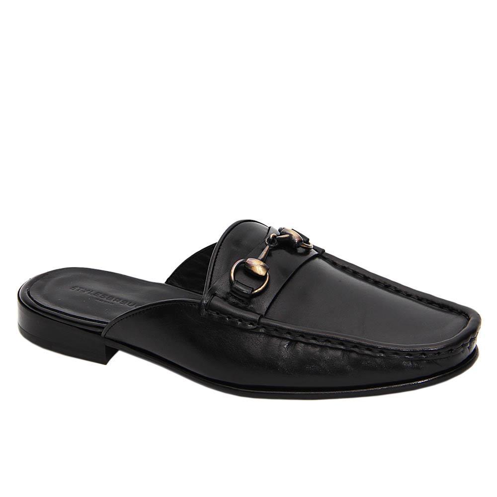 Black Martinez Italian Leather Half Shoe