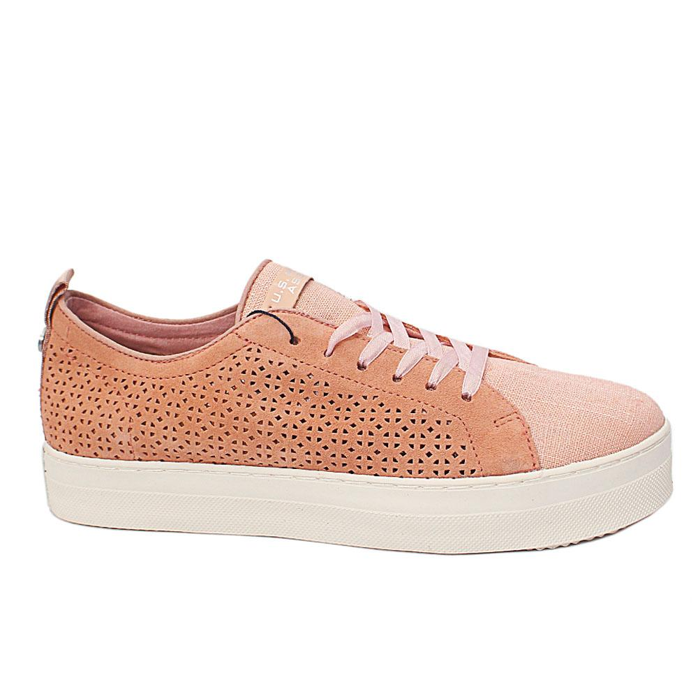 USSPA Peach Fabric Suede Leather Breathable Ladies Sneakers