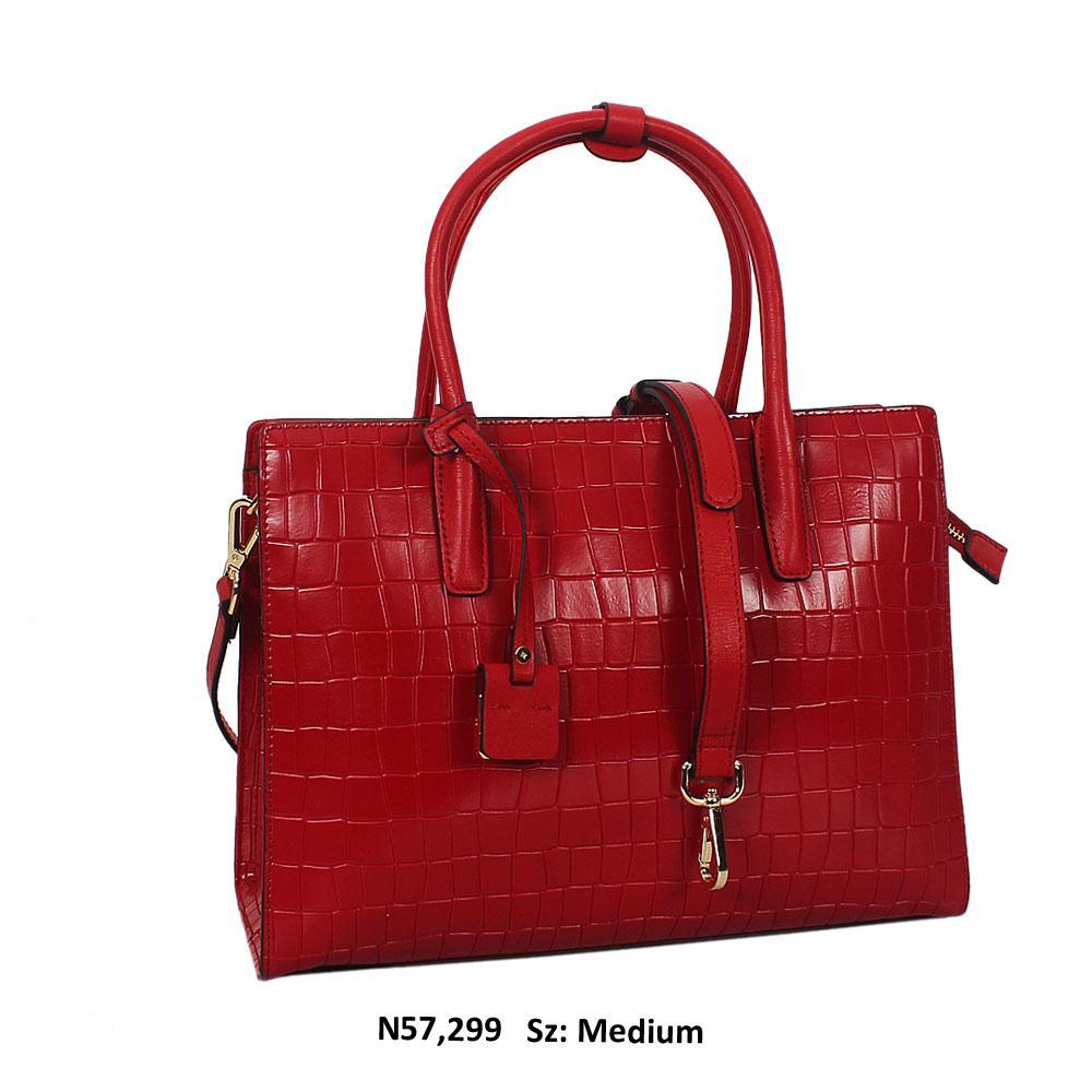 Freya Red Croc Cowhide Leather Tote Handbag