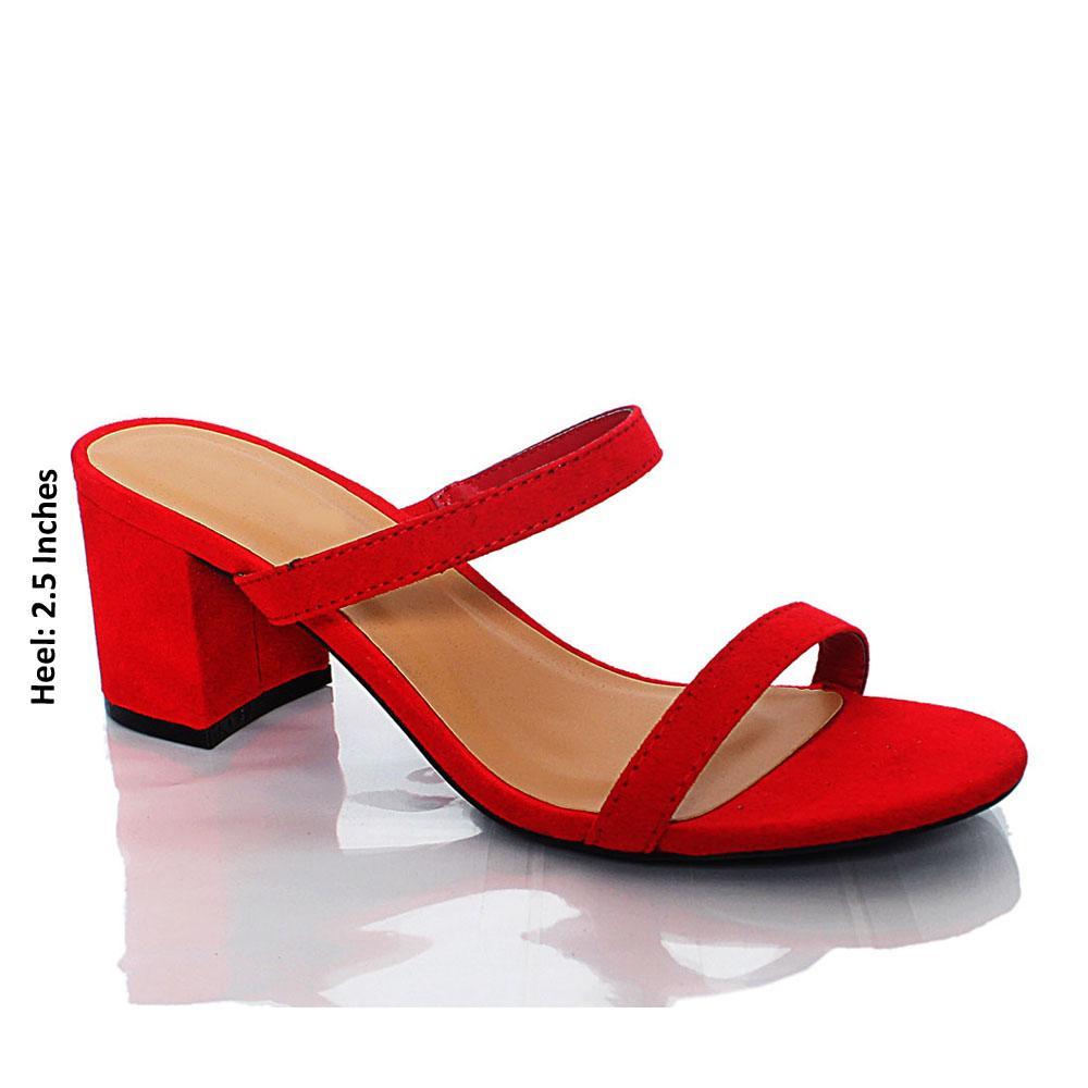 Red Valeria Suede Leather Block Heel Mule