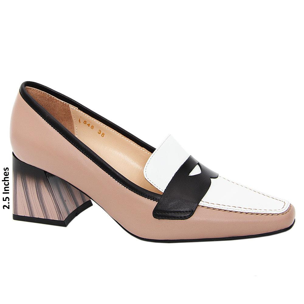 Nude Mix Grace Tuscany Leather Mid Heel Pumps