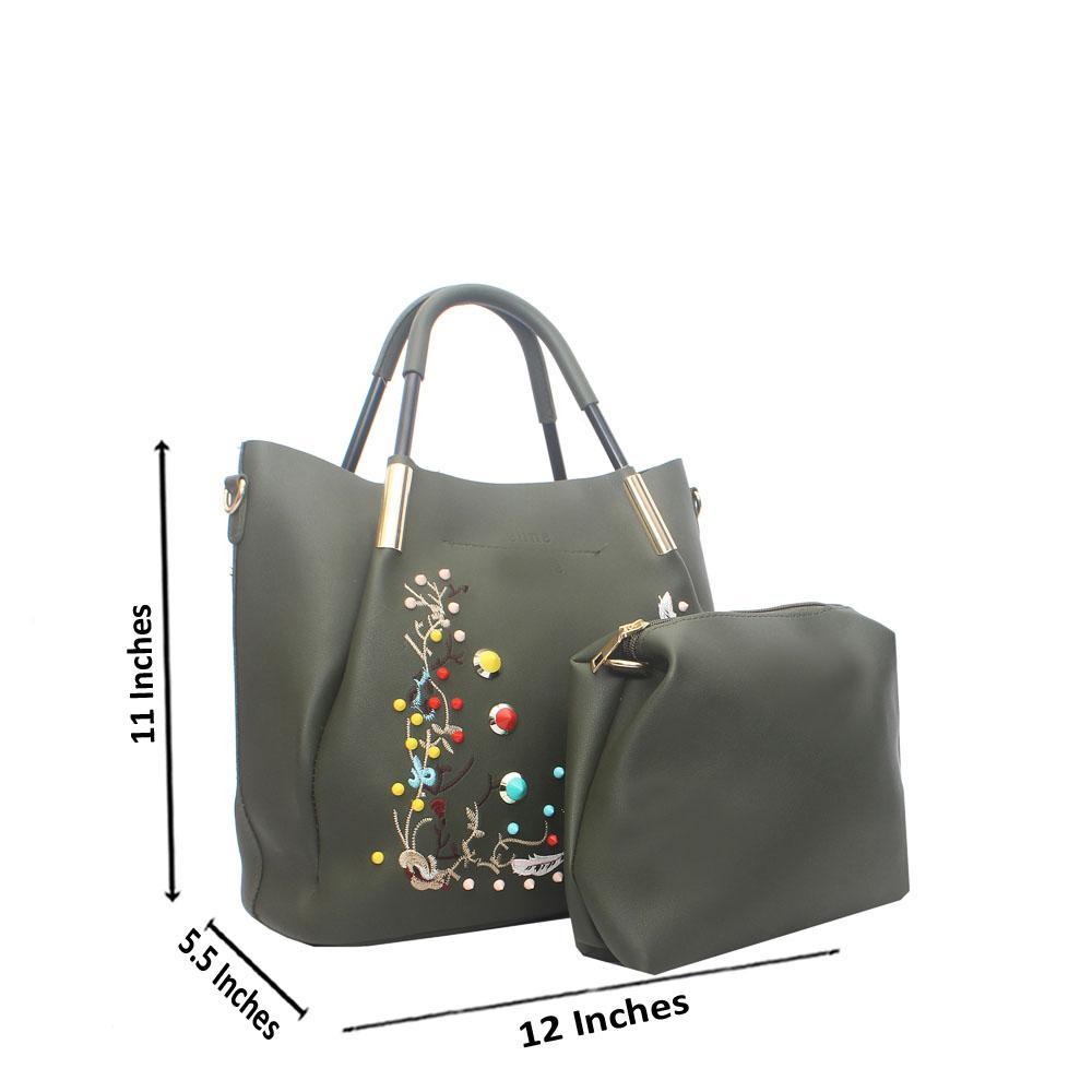 8b001583ba Green Amore Floral Studded Tandy Leather Handbag