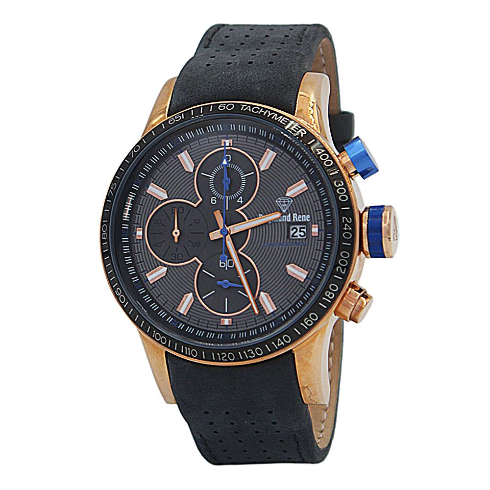DR 5ATM Gray Rose Gold Leather Chronograph Watch