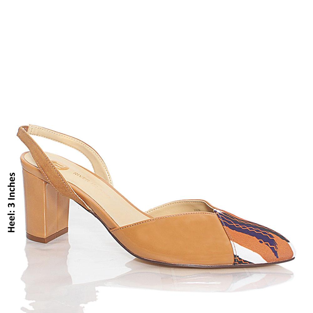 Light Brown Fabric Patent Leather Heel