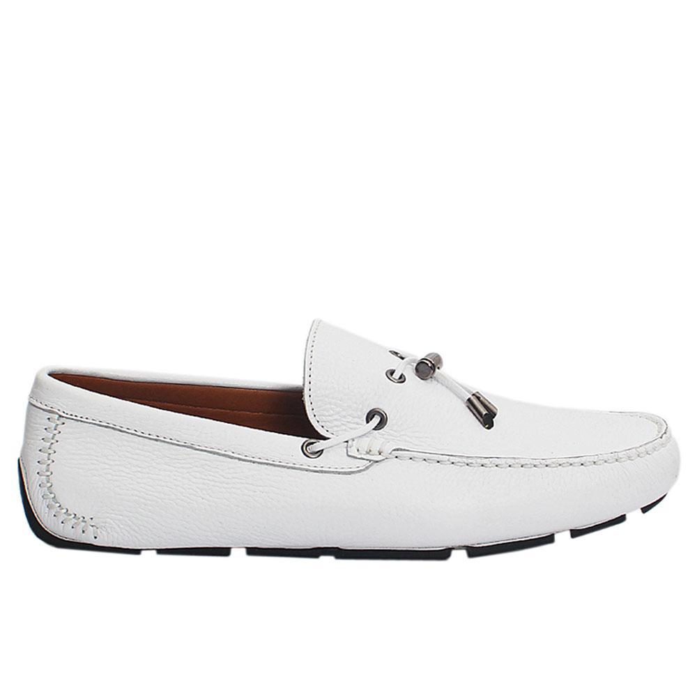 White Boyce Italian Leather Drivers Shoes