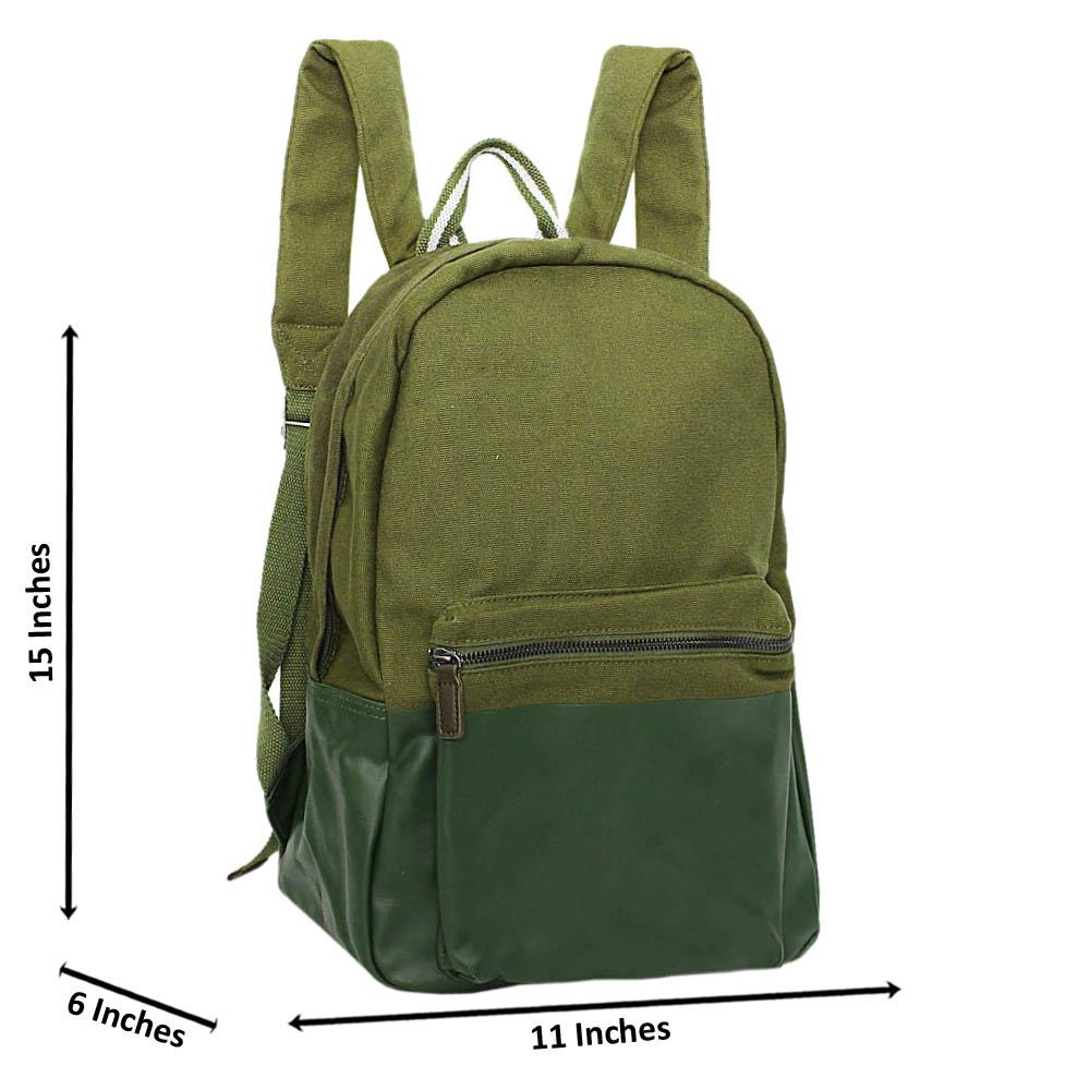 Army Green Raymond Khaki Fabric Backpack