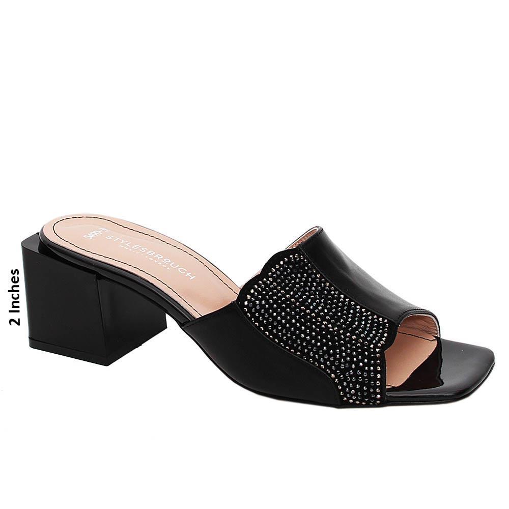 Black Natalie Studded Tuscany Leather Mid Heel Mule