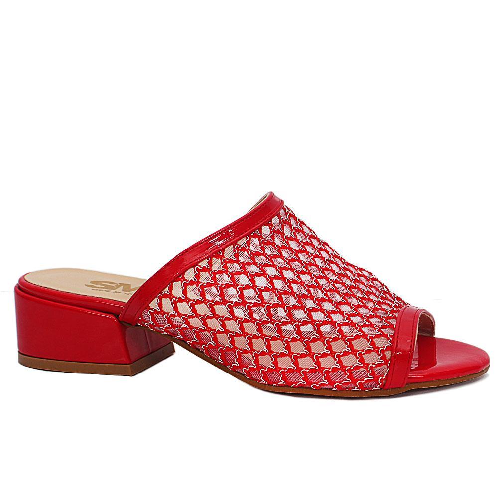Idoya Red Open Toe Mesh Leather Low Heel Ladies Slippers