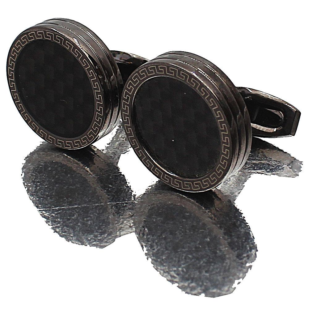 Black Etched Pearl Stainless Steel Cufflinks