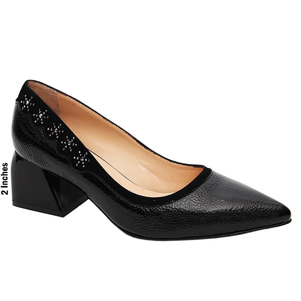 Black Roxanne Studded Patent Italian Leather Mid Heel Pumps