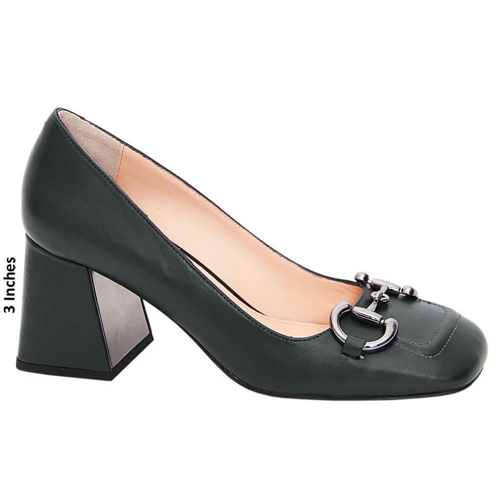 Dark Army Green Ana Maria Tuscany Leather Mid Heel Pumps