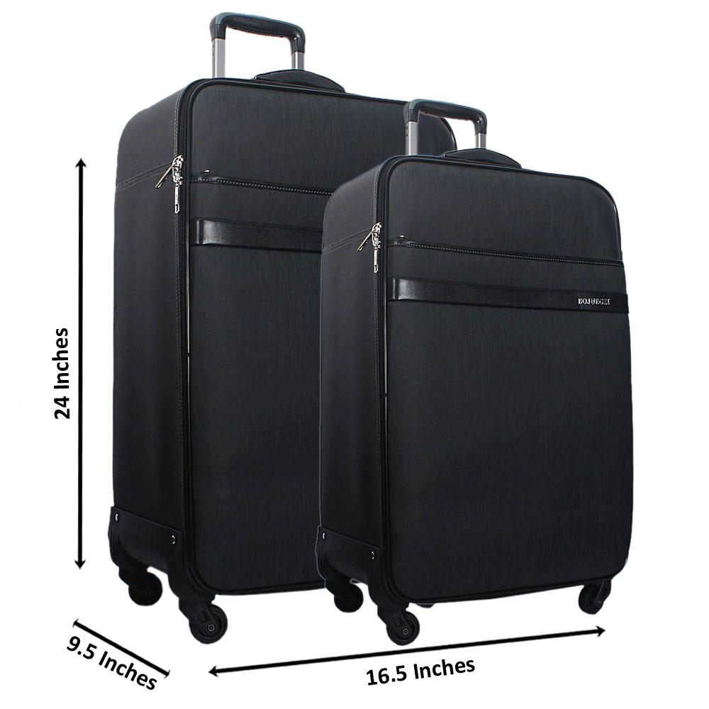 Dark Grey 24 Inch Wt 20 Inch 2 in 1 Leather Luggage Set