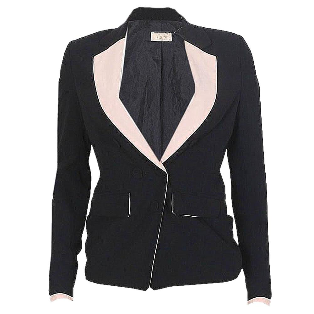 Lustre Black-Peach Button Design Ladies Jacket-S