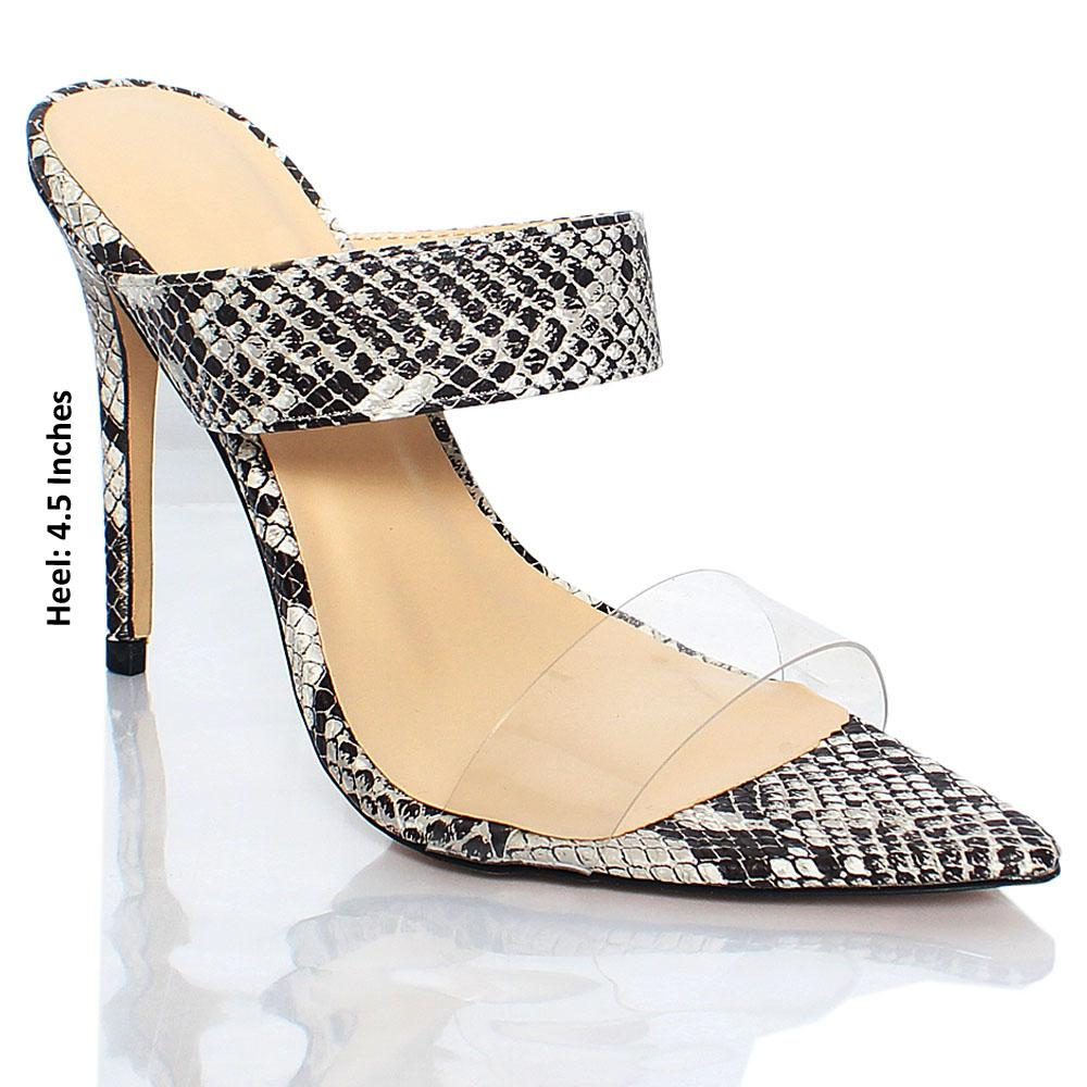 Monochrome Snake Skin AM Liz Leather High Heels