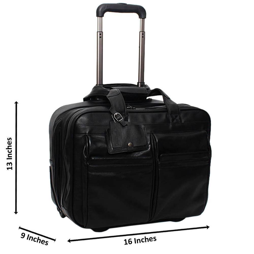 Black Marcelo 13 Inch Italian Leather 2-Ways Pilot Suitcase
