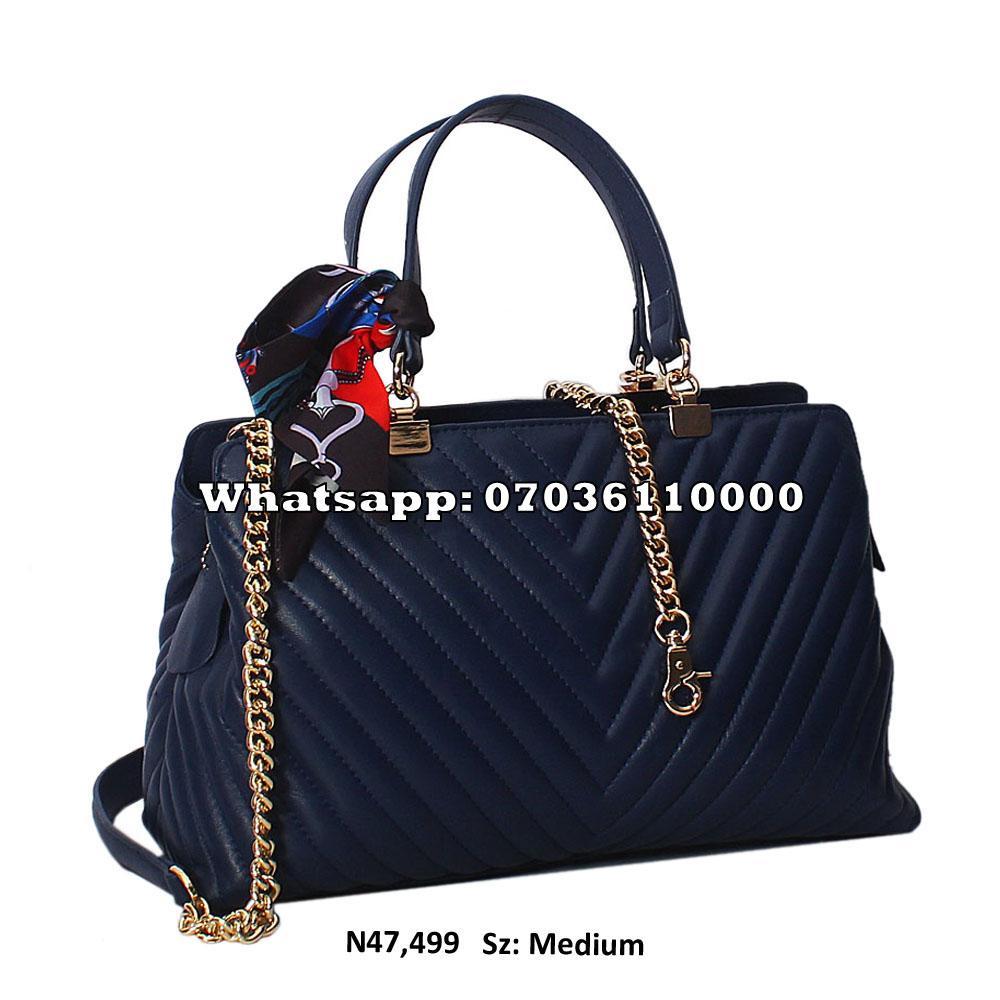 Navy Blue Isla Leather Tote Handbag