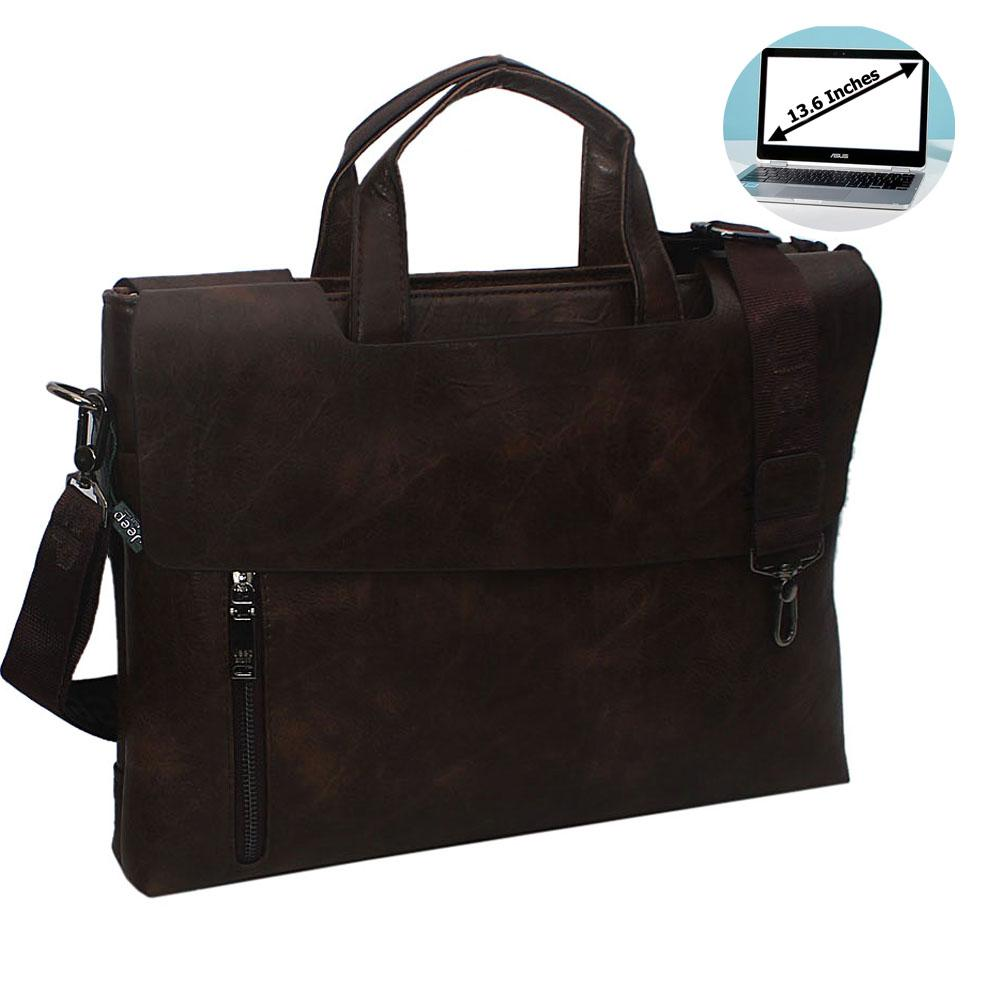 Coffee Esteban Leather Double Flap Briefcase