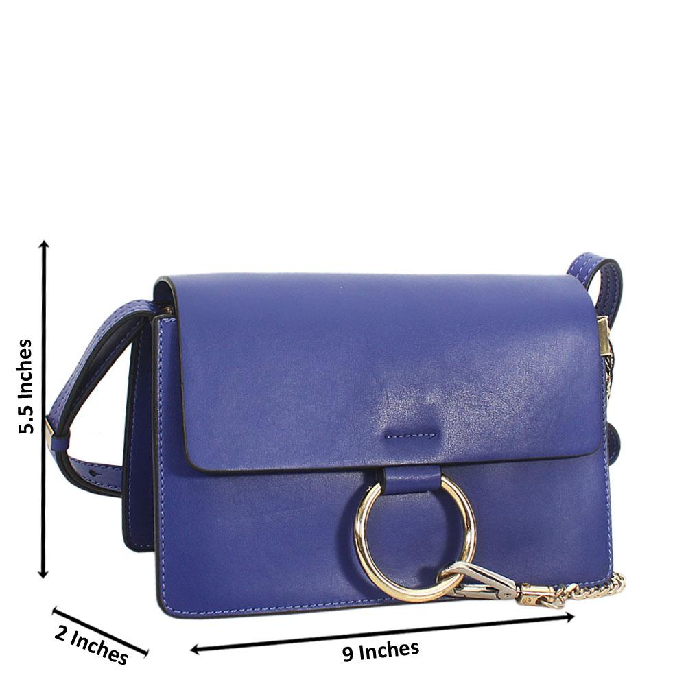 Blue Natale Leather Mini Crossbody Handbag