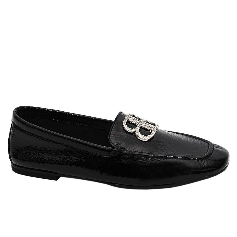 Black Adele Tuscany Soft Leather Flat Shoe