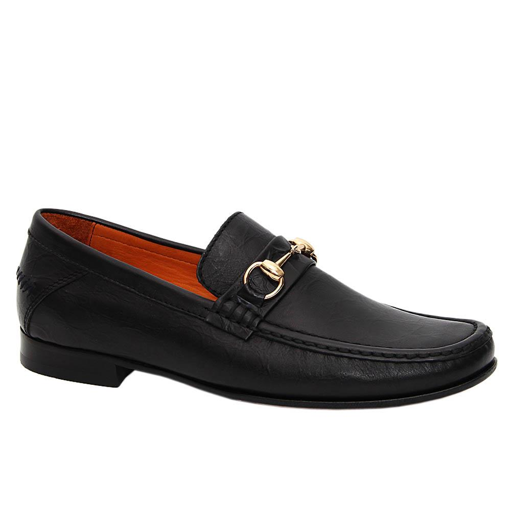 Black Damiano Italian Leather Penny Loafers