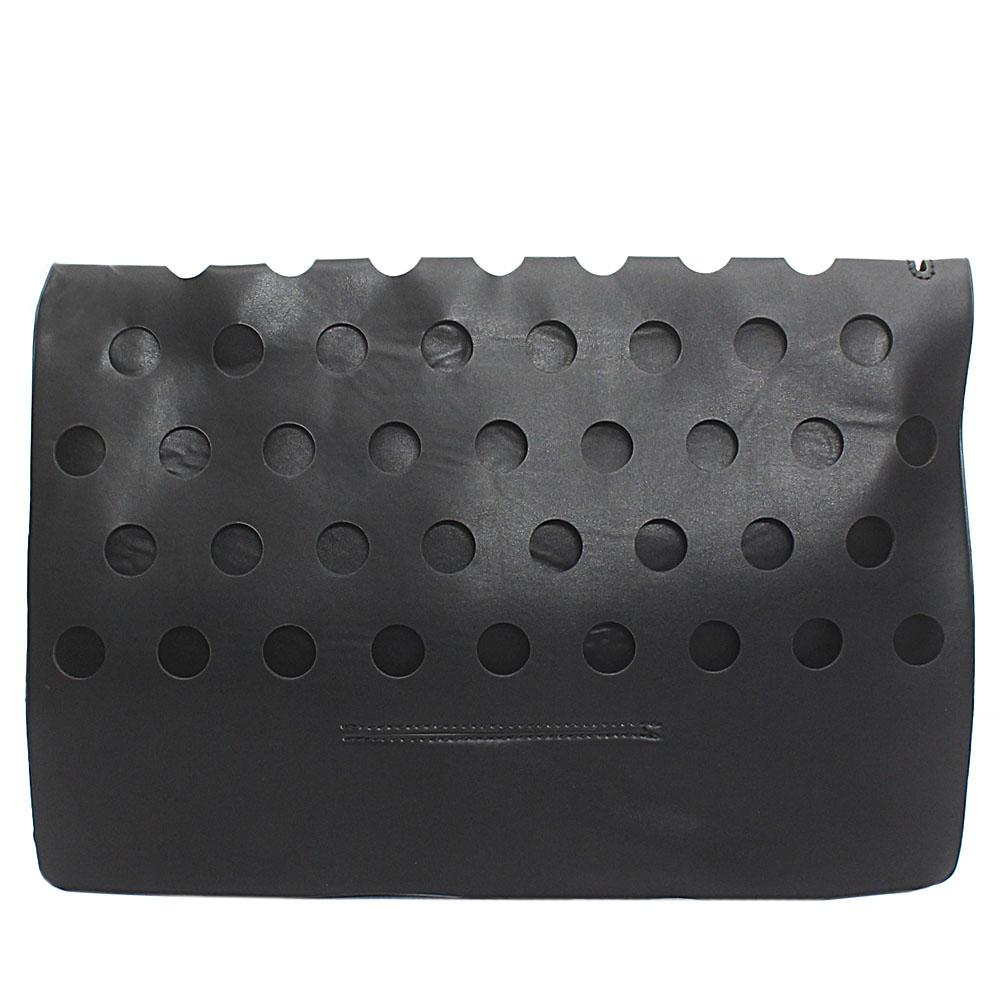 Black Punctured Leather Flat Purse