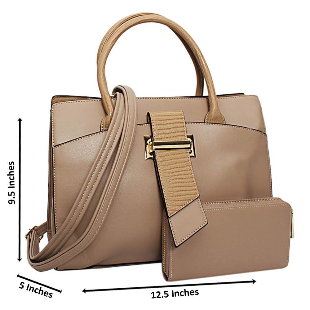 Beige Brandy Leather Medium Tote Handbag